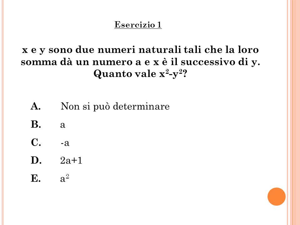A. Non si può determinare B. a C. -a D. 2a+1 E. a2