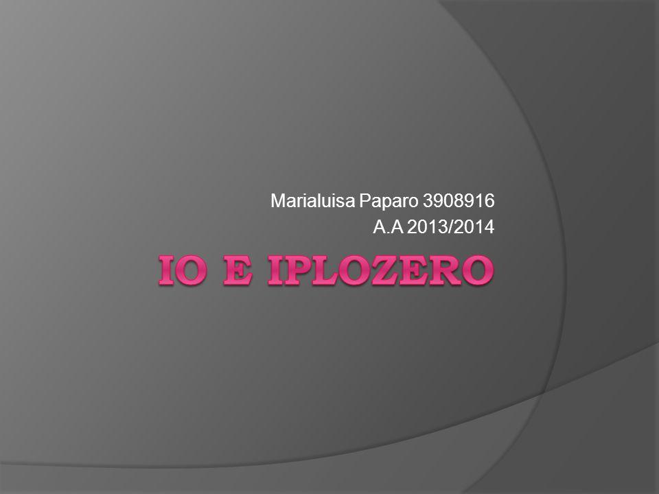 Marialuisa Paparo 3908916 A.A 2013/2014 Io e iplozero