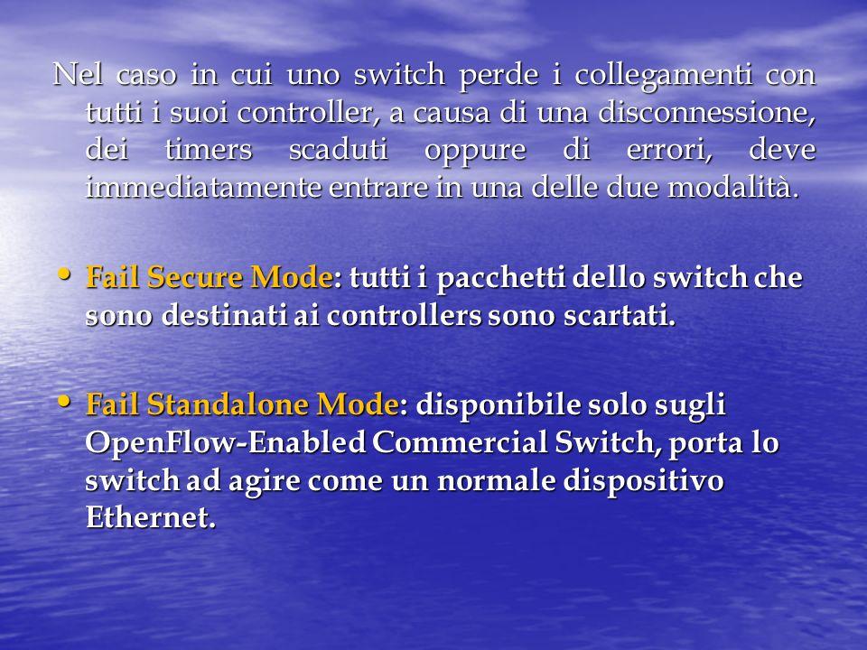 Nel caso in cui uno switch perde i collegamenti con tutti i suoi controller, a causa di una disconnessione, dei timers scaduti oppure di errori, deve immediatamente entrare in una delle due modalità.