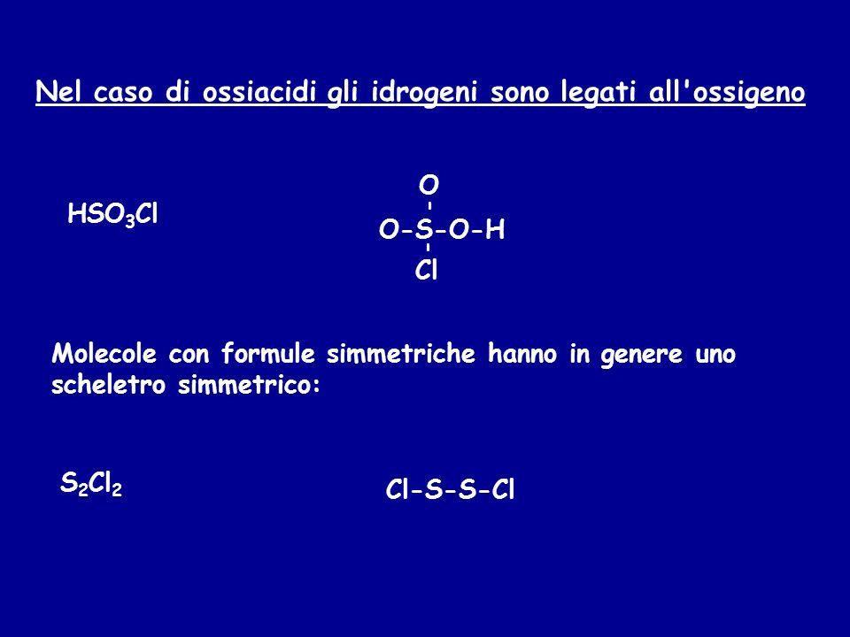 Nel caso di ossiacidi gli idrogeni sono legati all ossigeno