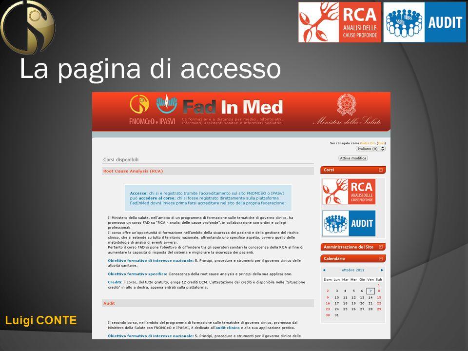 La pagina di accesso Luigi CONTE