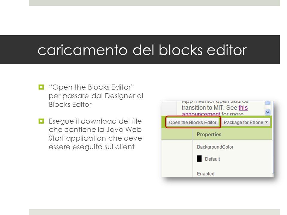 caricamento del blocks editor