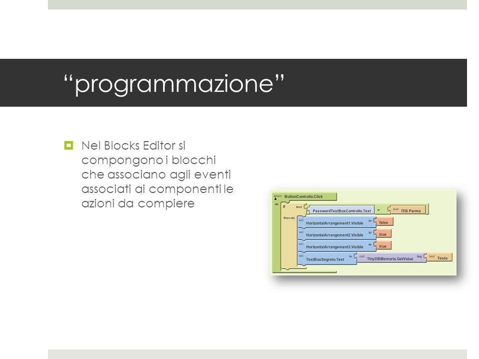 programmazione Nel Blocks Editor si compongono i blocchi che associano agli eventi associati ai componenti le azioni da compiere.