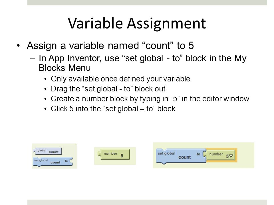Variable Assignment Assign a variable named count to 5