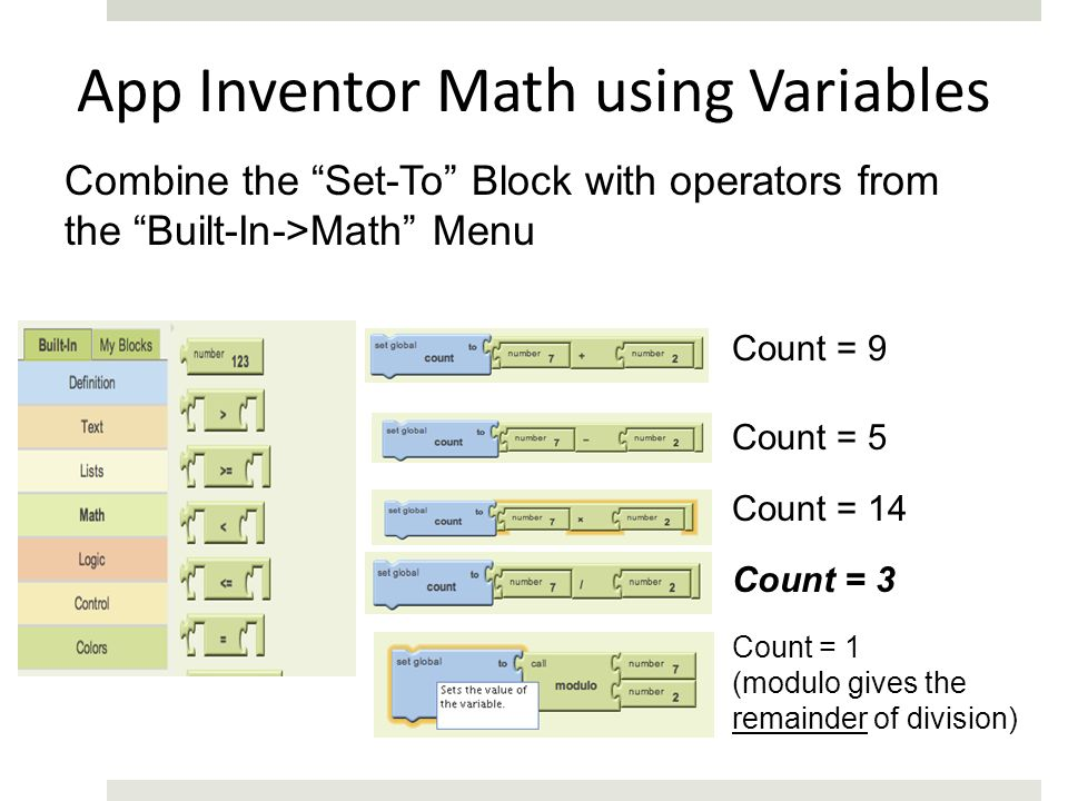 App Inventor Math using Variables