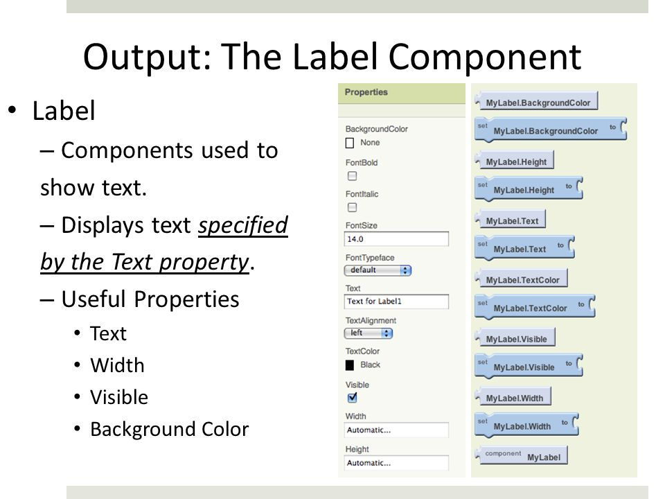 Output: The Label Component