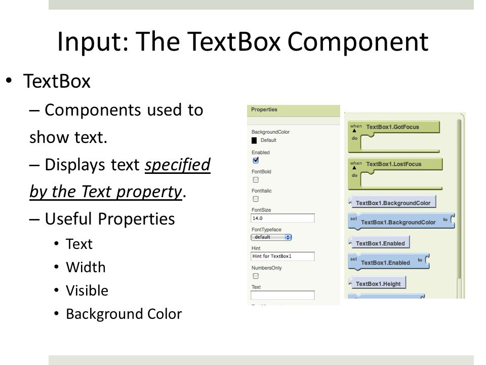 Input: The TextBox Component