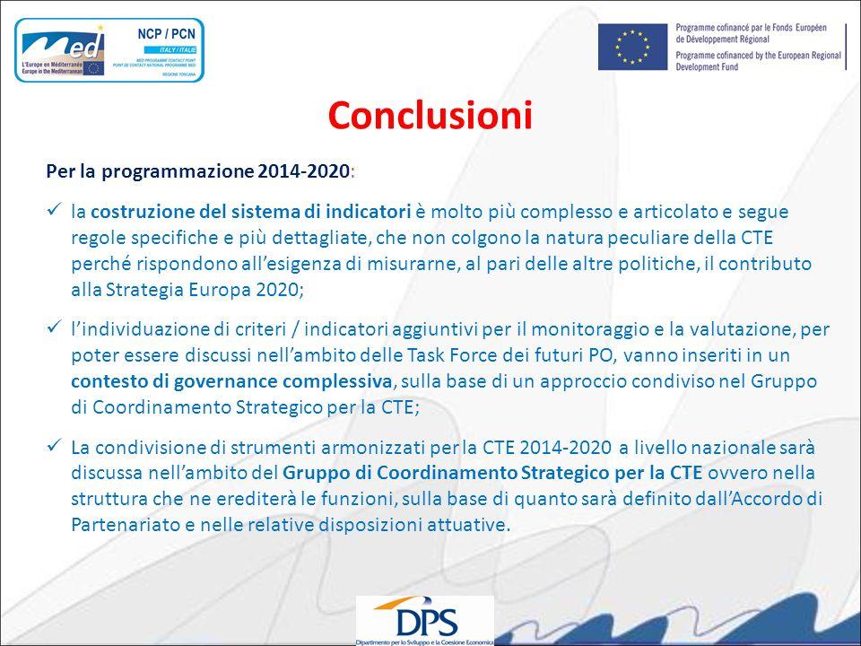 Conclusioni Per la programmazione 2014-2020: