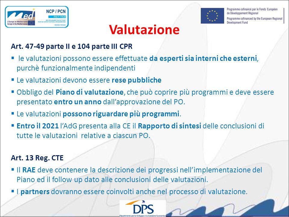 Valutazione Art. 47-49 parte II e 104 parte III CPR