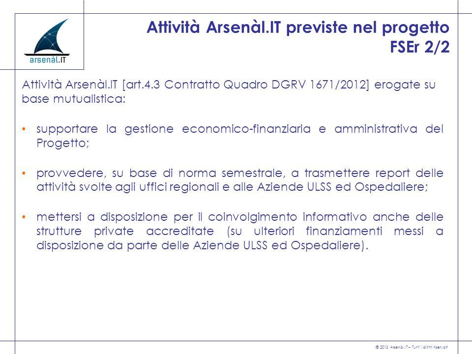 Attività Arsenàl.IT previste nel progetto FSEr 2/2