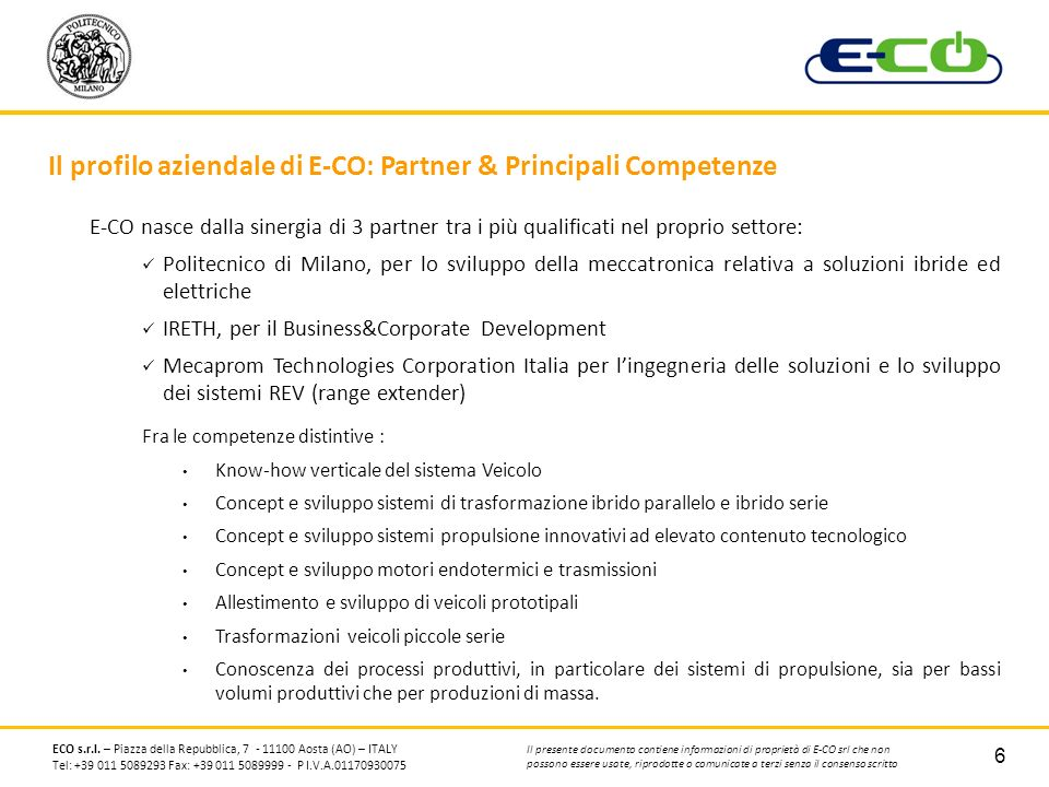 Il profilo aziendale di E-CO: Partner & Principali Competenze