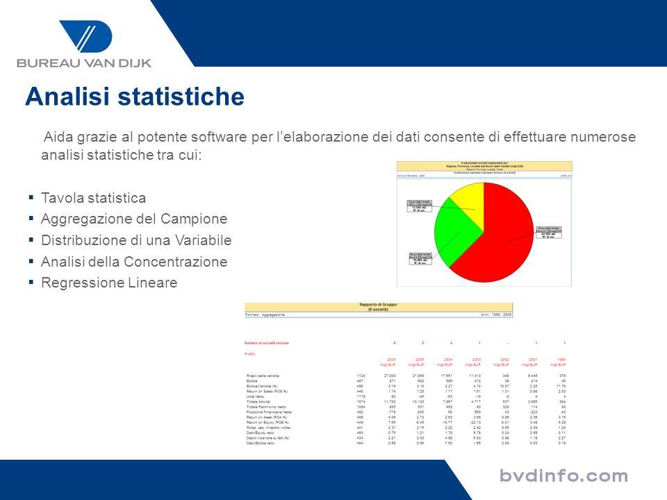 Analisi statistiche Aida grazie al potente software per l'elaborazione dei dati consente di effettuare numerose analisi statistiche tra cui: