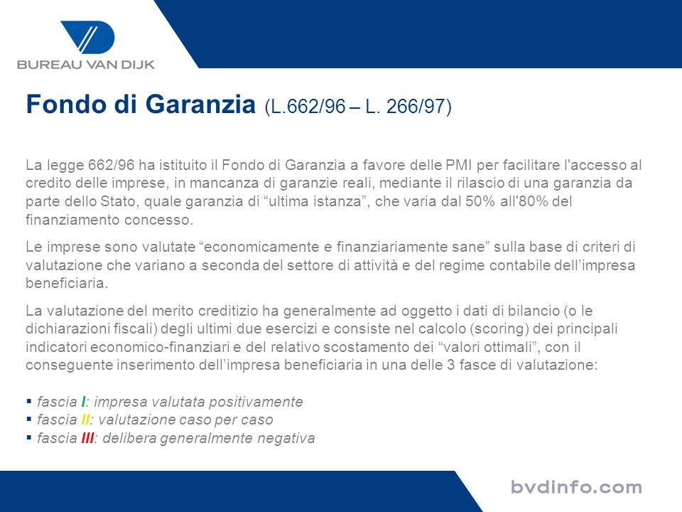 Fondo di Garanzia (L.662/96 – L. 266/97)