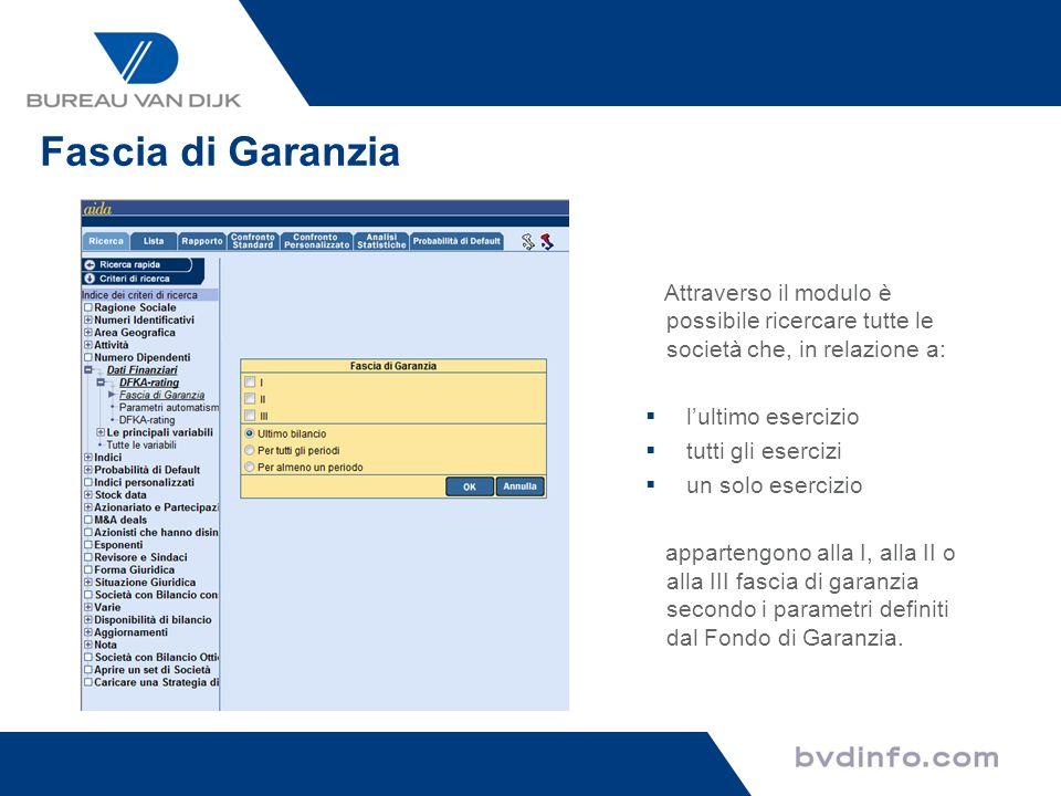 Fascia di Garanzia Attraverso il modulo è possibile ricercare tutte le società che, in relazione a: