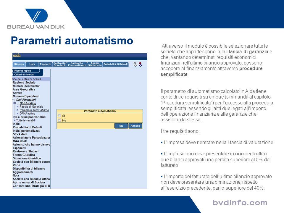 Parametri automatismo
