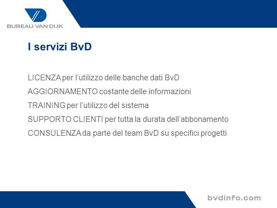 I servizi BvD LICENZA per l'utilizzo delle banche dati BvD