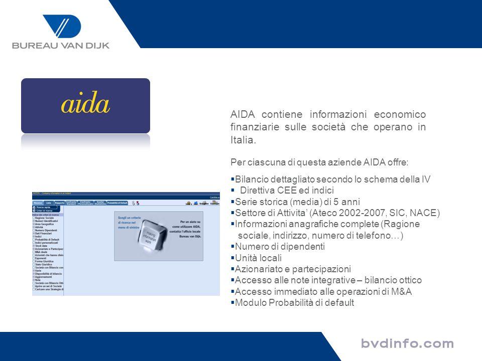 AIDA contiene informazioni economico finanziarie sulle società che operano in Italia.