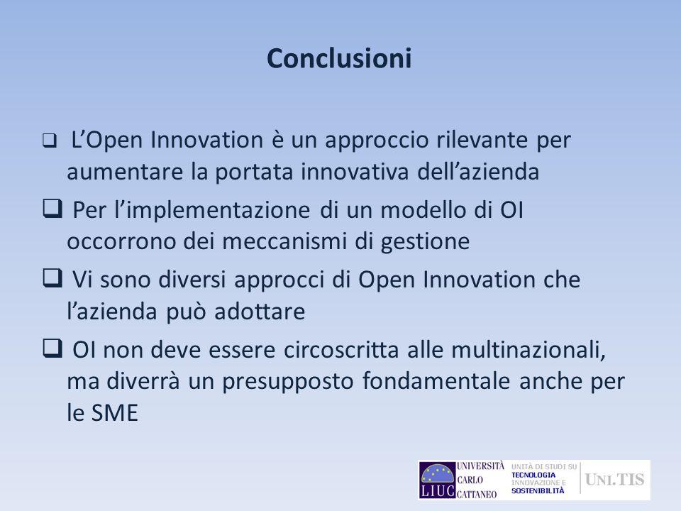 Conclusioni L'Open Innovation è un approccio rilevante per aumentare la portata innovativa dell'azienda.