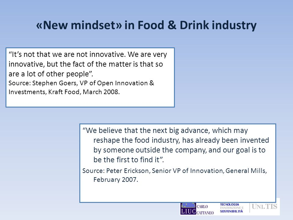 «New mindset» in Food & Drink industry