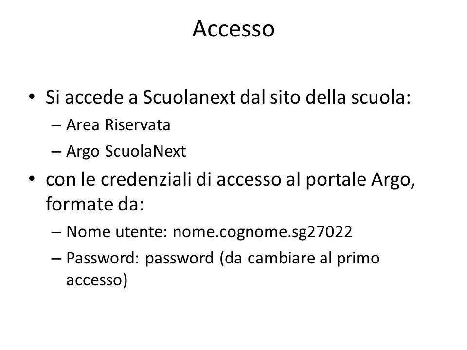 Accesso Si accede a Scuolanext dal sito della scuola: