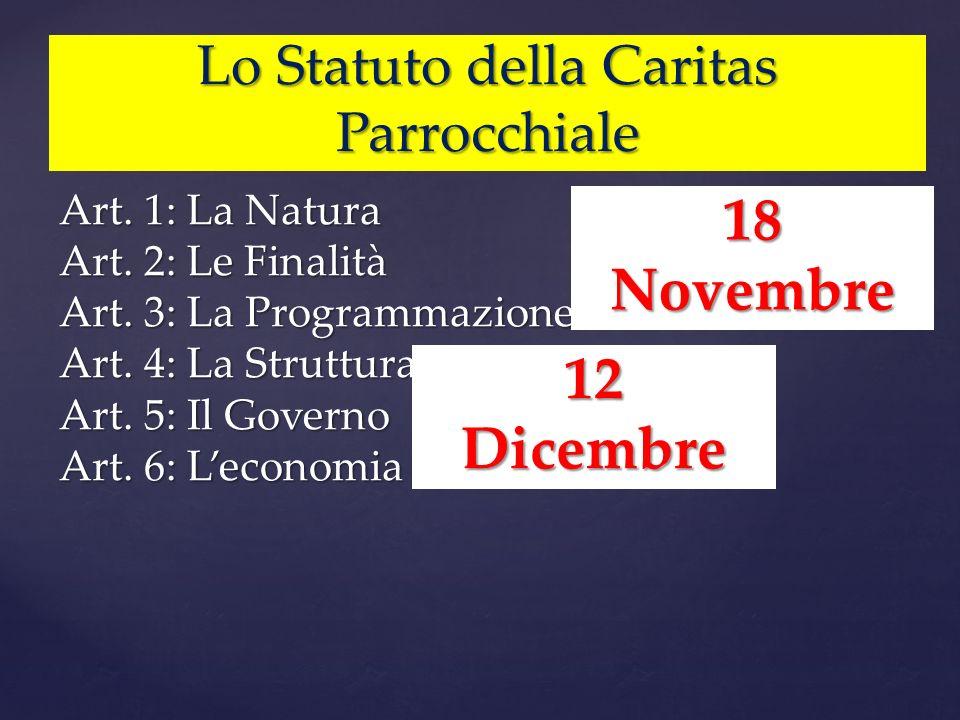 Lo Statuto della Caritas Parrocchiale