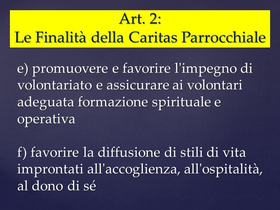 Le Finalità della Caritas Parrocchiale
