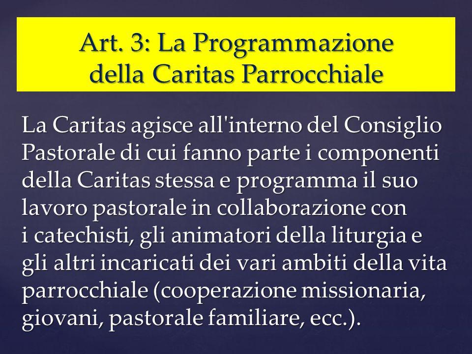 Art. 3: La Programmazione della Caritas Parrocchiale