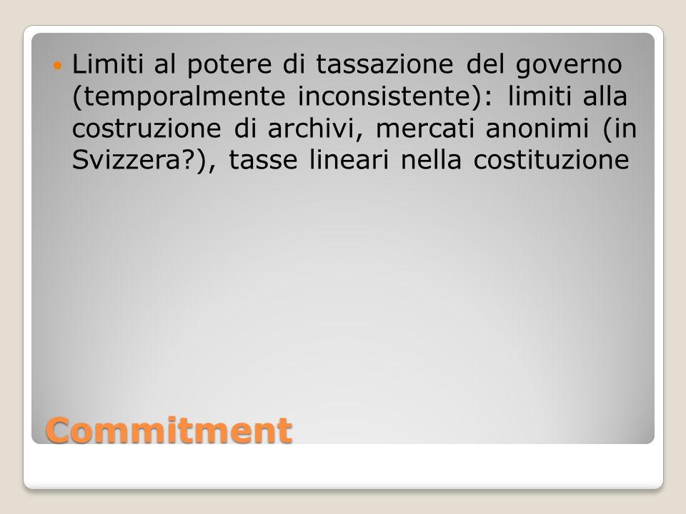Limiti al potere di tassazione del governo (temporalmente inconsistente): limiti alla costruzione di archivi, mercati anonimi (in Svizzera ), tasse lineari nella costituzione