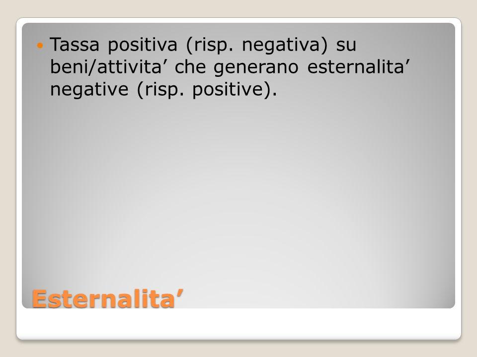 Tassa positiva (risp. negativa) su beni/attivita' che generano esternalita' negative (risp. positive).
