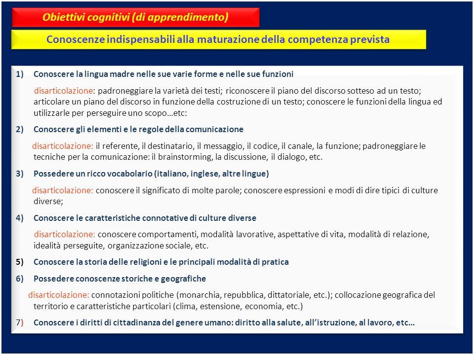 Obiettivi cognitivi (di apprendimento)