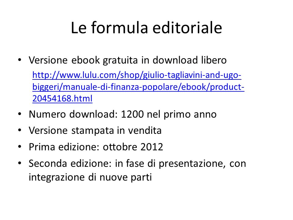 Le formula editoriale Versione ebook gratuita in download libero