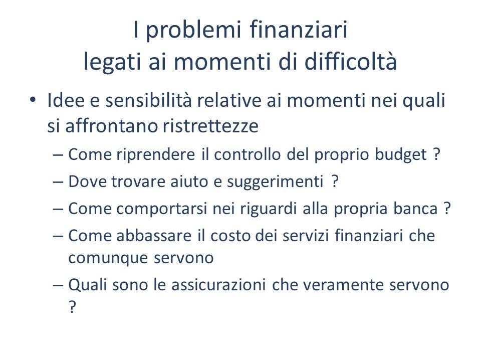 I problemi finanziari legati ai momenti di difficoltà