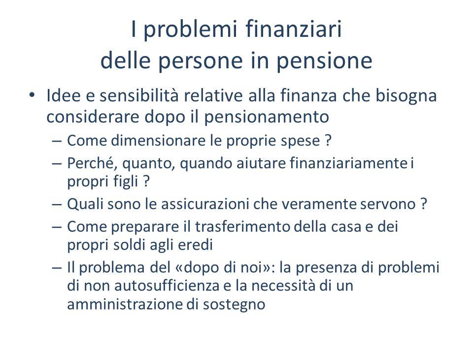 I problemi finanziari delle persone in pensione