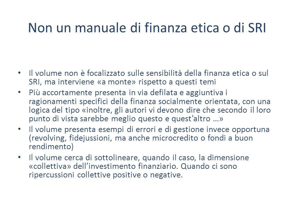 Non un manuale di finanza etica o di SRI