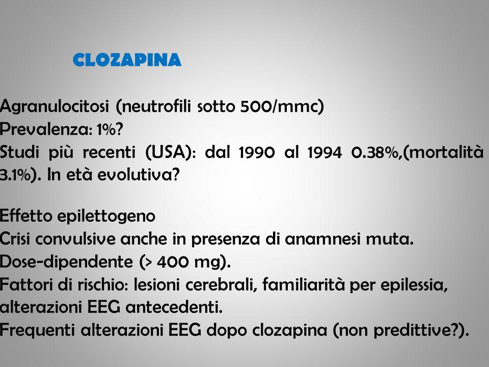 CLOZAPINA Agranulocitosi (neutrofili sotto 500/mmc) Prevalenza: 1%
