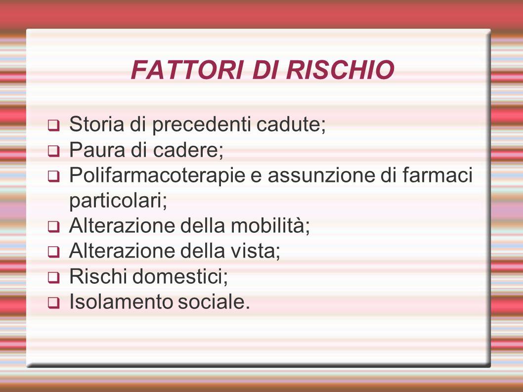 FATTORI DI RISCHIO Storia di precedenti cadute; Paura di cadere;