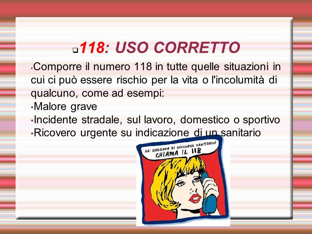 118: USO CORRETTO