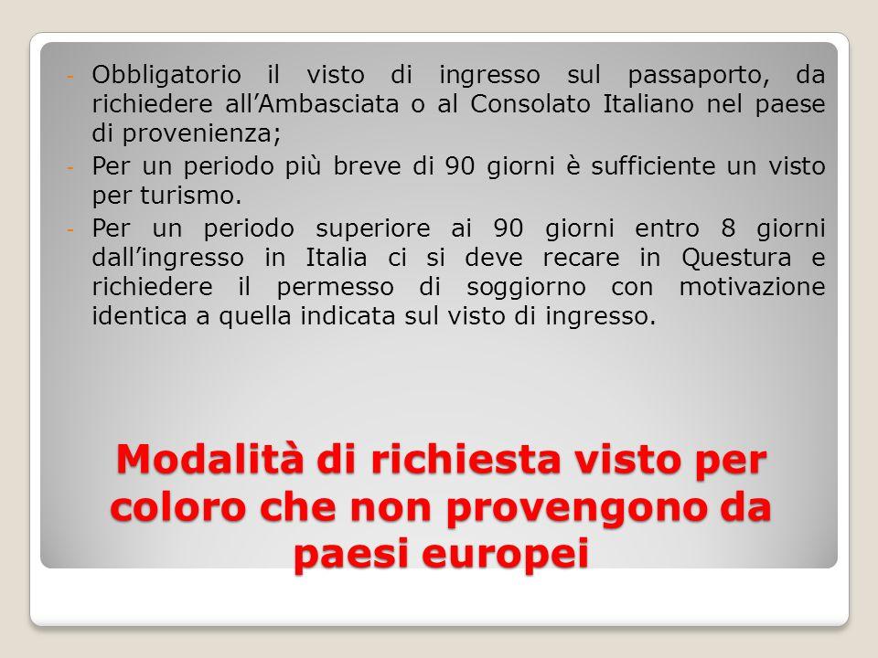 Obbligatorio il visto di ingresso sul passaporto, da richiedere all'Ambasciata o al Consolato Italiano nel paese di provenienza;