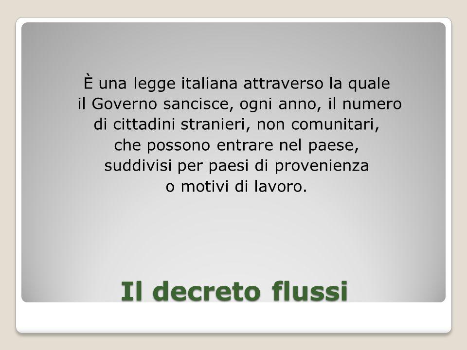 È una legge italiana attraverso la quale il Governo sancisce, ogni anno, il numero di cittadini stranieri, non comunitari, che possono entrare nel paese, suddivisi per paesi di provenienza o motivi di lavoro.