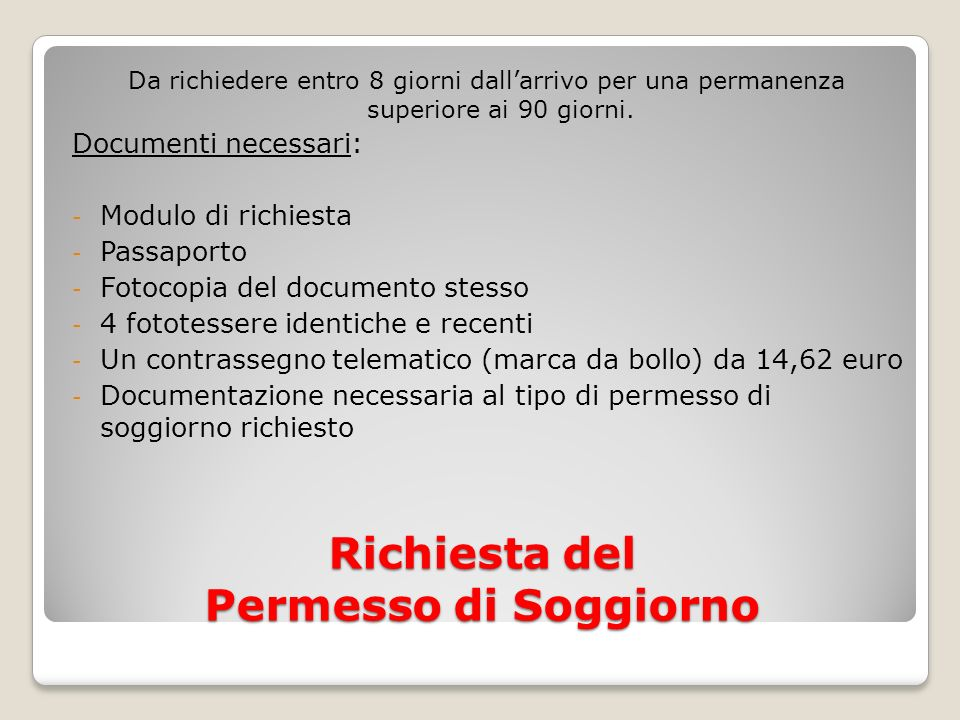 Awesome documenti richiesti per carta di soggiorno images home beautiful