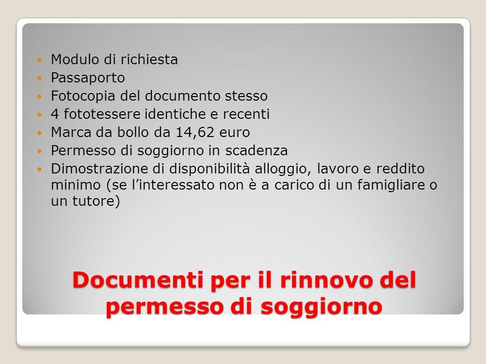Documenti per il rinnovo del permesso di soggiorno