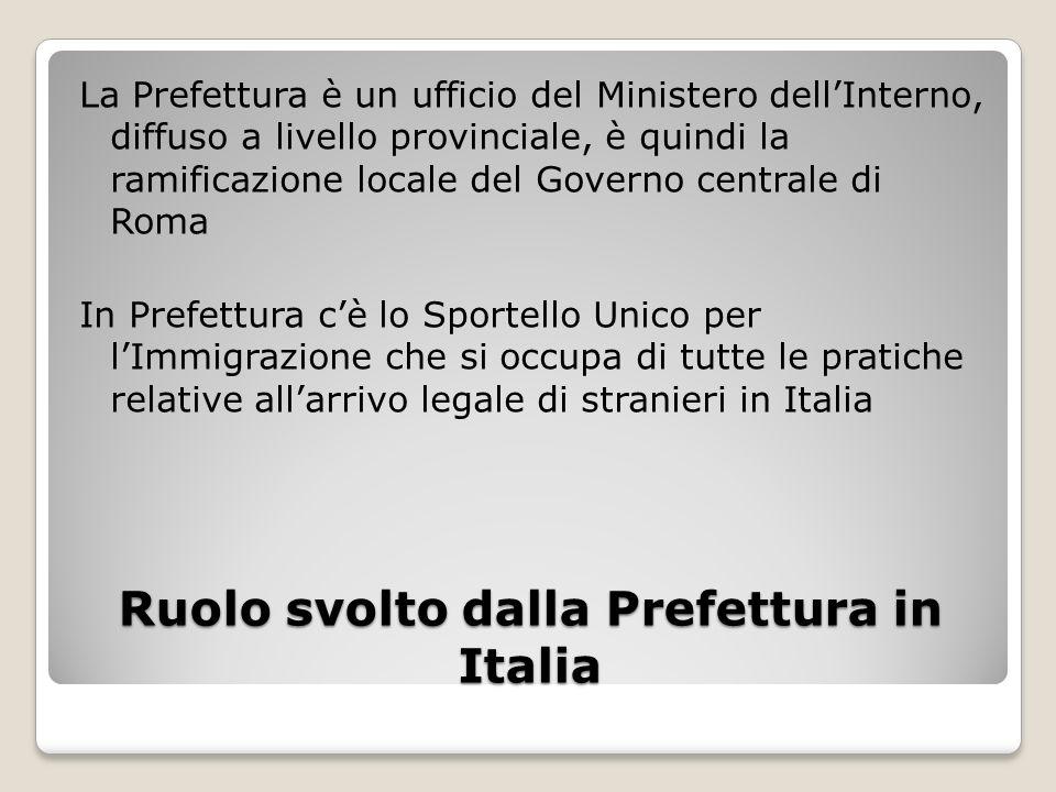Ruolo svolto dalla Prefettura in Italia