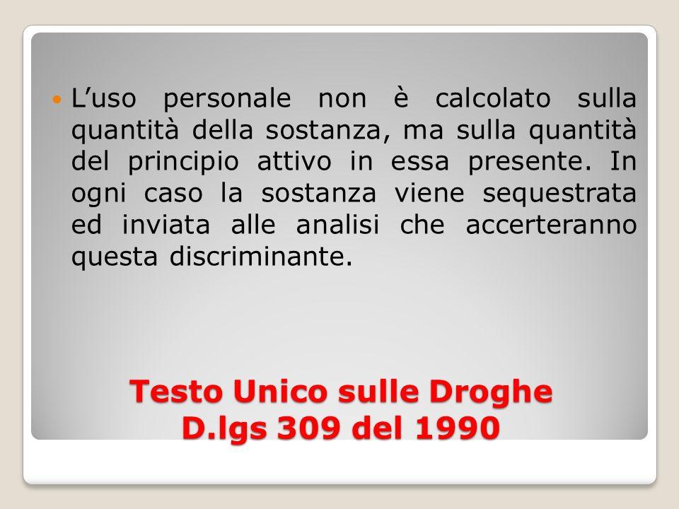 Testo Unico sulle Droghe D.lgs 309 del 1990