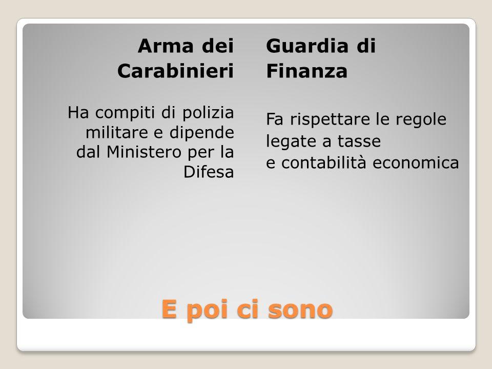 E poi ci sono Arma dei Carabinieri Guardia di Finanza