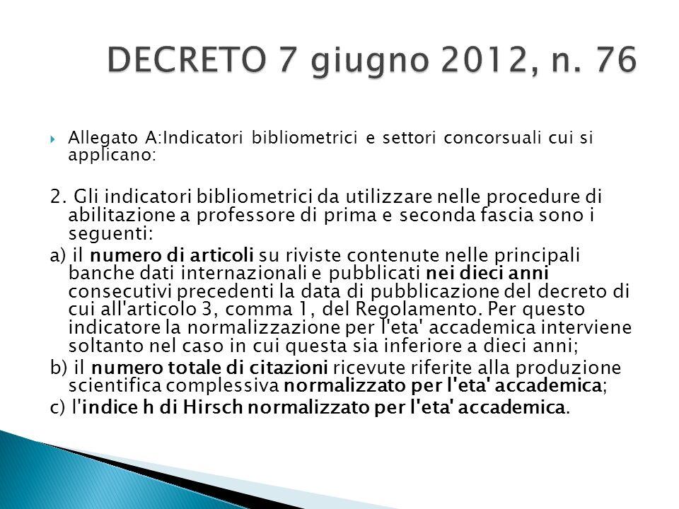 DECRETO 7 giugno 2012, n. 76 Allegato A:Indicatori bibliometrici e settori concorsuali cui si applicano:
