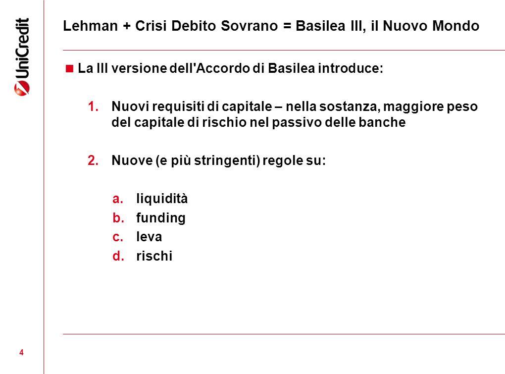 Lehman + Crisi Debito Sovrano = Basilea III, il Nuovo Mondo