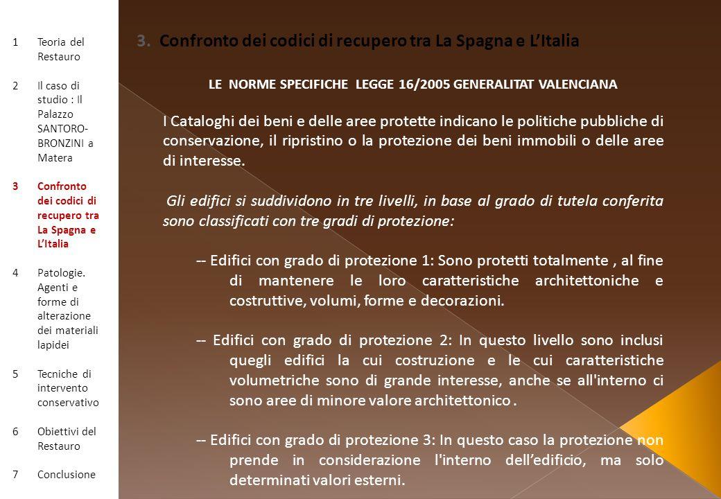 LE NORME SPECIFICHE LEGGE 16/2005 GENERALITAT VALENCIANA