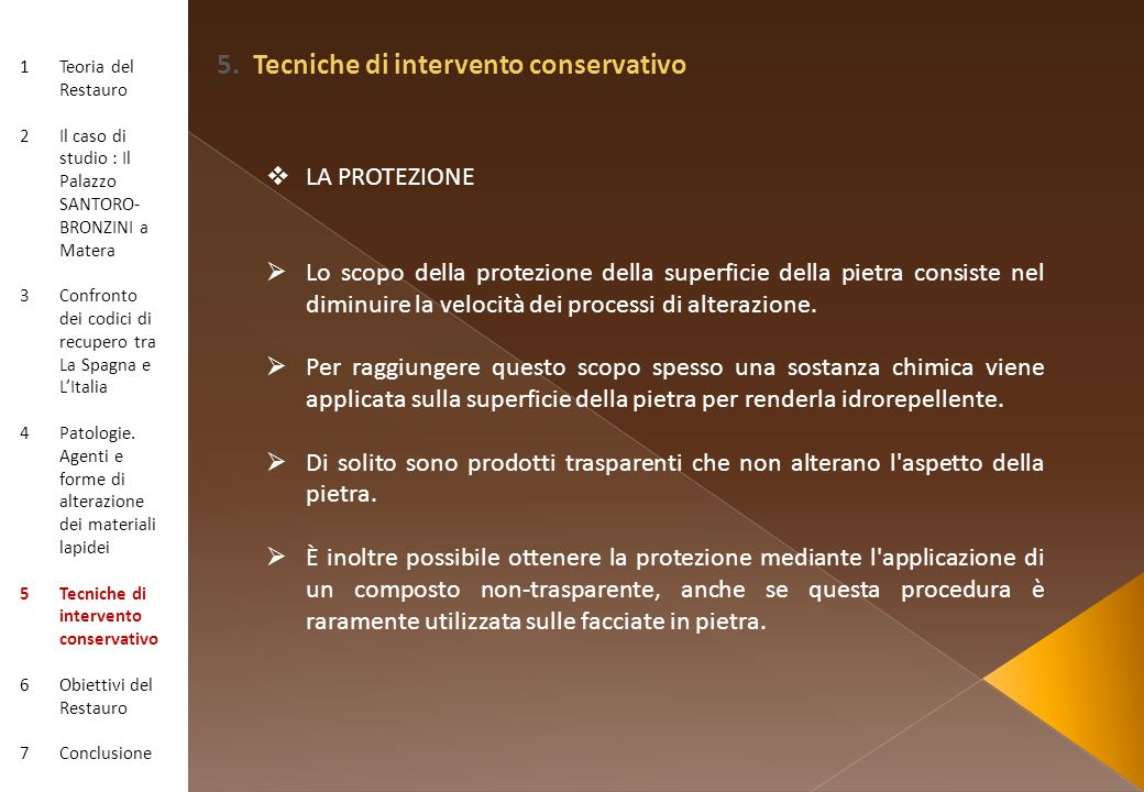 5. Tecniche di intervento conservativo