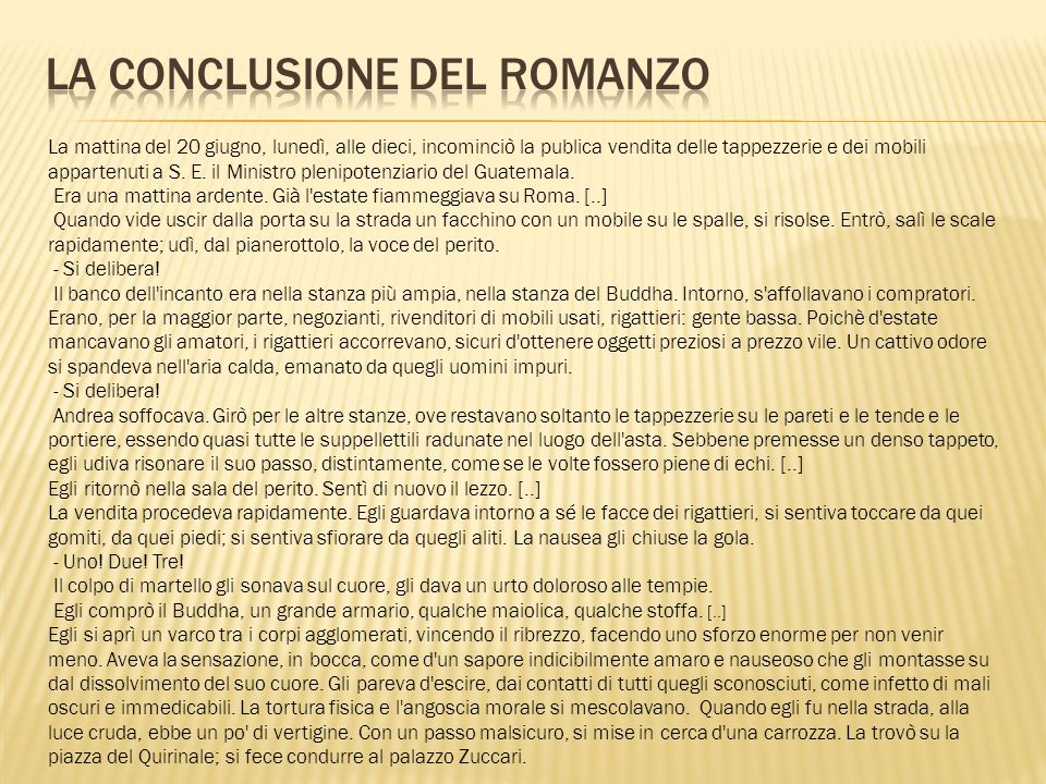 LA CONCLUSIONE DEL ROMANZO