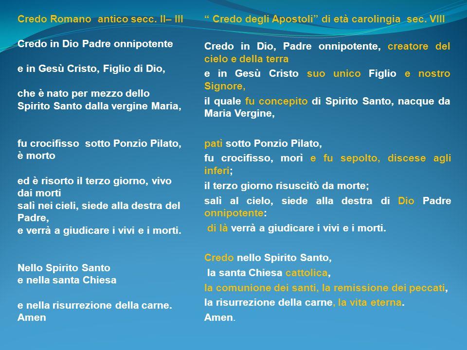 Credo Romano antico secc. II– III